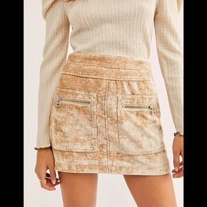 NWT FREE PEOPLE VELVET MINI SKIRT SIZE 0